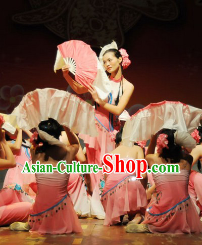 Chinese Female Fan Dance Costume Dancewear and Headdress Complete Set