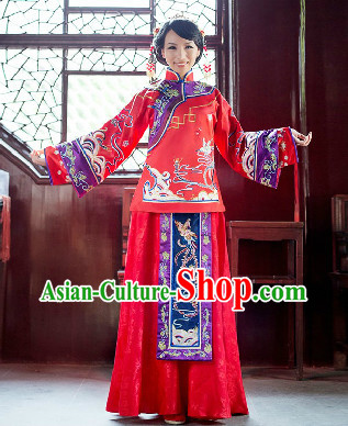 Traditional Chinese Romantic Phoenix Wedding Blouse and Skirt for Brides