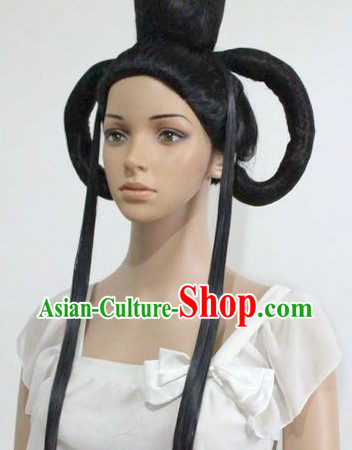 Ancient Chinese Style Guzhuang Long Black Wig for Women