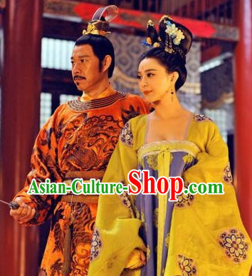Tang Dynasty Wu Ze Tian Empress and Emperor Costumes Two Complete Sets