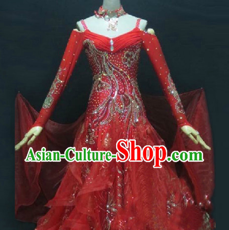 Professional Waltz Competition Dancing Long Skirt