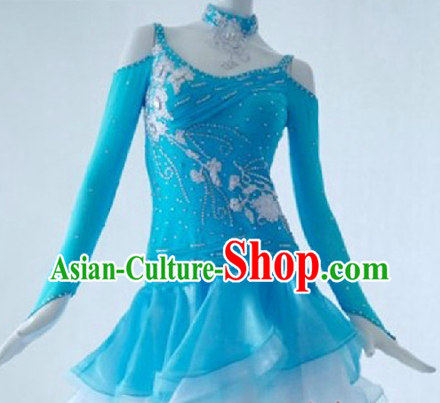 Top Light Blue Latin Custom Costumes Ballroom Dance Costume
