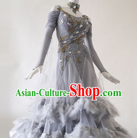 Top High Quality Professional Latin Dance Feather Suit for Women