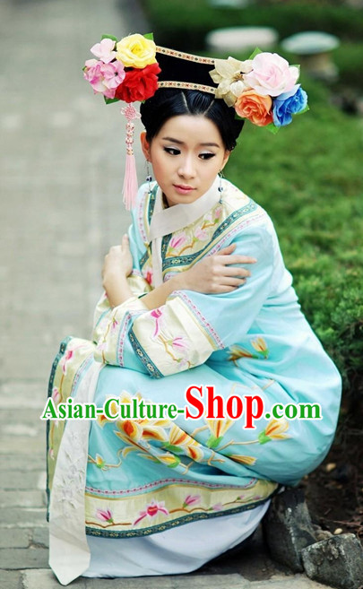 Qing Dynasty Manchu Chinese Traditional Princess Dress and Hair Ornaments Complete Set