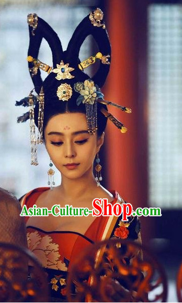 Chinese Tang Empress Wu Ze Tian Wig and Hair Accessory