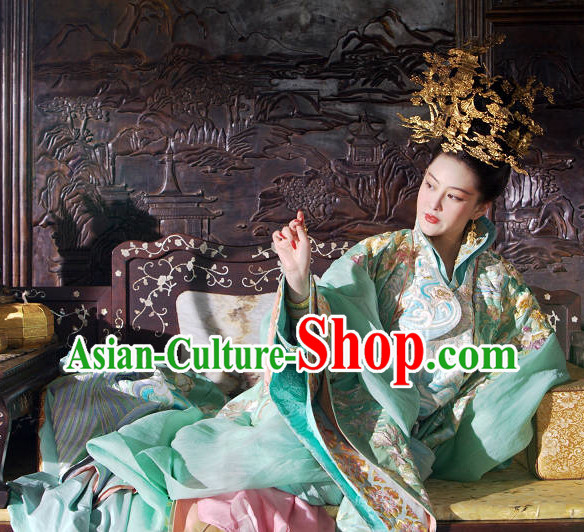 Chinese Classic Royal Palace Empress Clothes and Headwear Complete Set