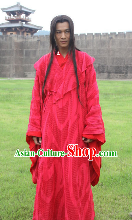China Red Kung Fu Master Legend of Ancient Swords TV Serious Costumes for Men