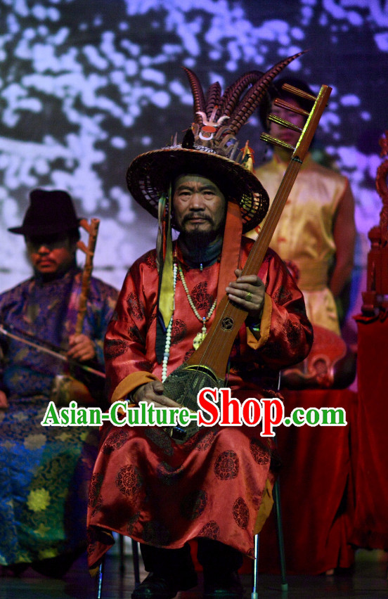 China Yunnan Lijiang Minority Ethnic Long Robe and Hat for Men