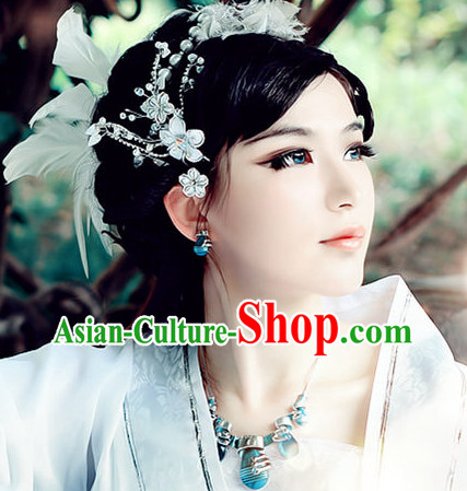 Traditional Romantic White Chinese Hair Accessories for Girls