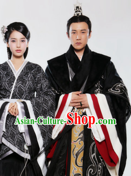 Ancient Traditional Emperor Robe and Empress Clothes Complete Set