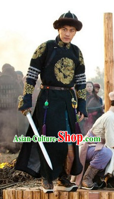 Chinese Traditional Emperor Dragon Robe Winter Wear and Hat for Men