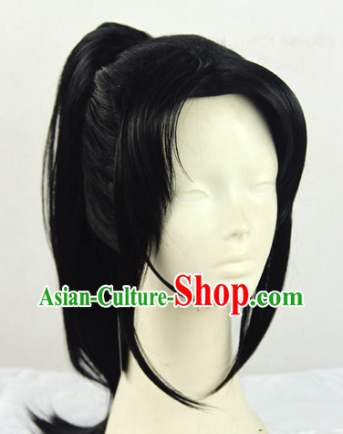 Chinese Ancient Swordsman Style Black Hair Wigs
