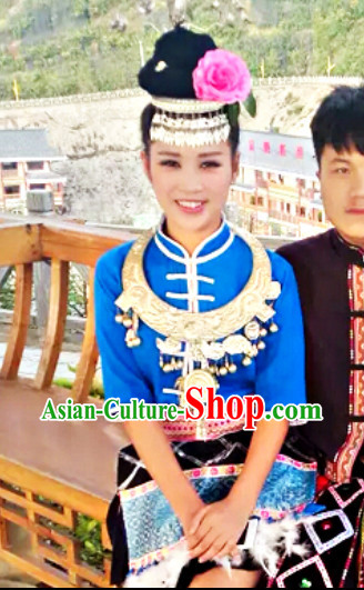 China Hmong Miao Ethnic Dresses and Hair Accessories for Girls