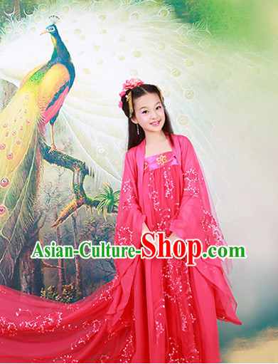 Chinese Empress Costumes and Hair Accessories for Kids Halloween Asian Fashion Ancient China Hanfu