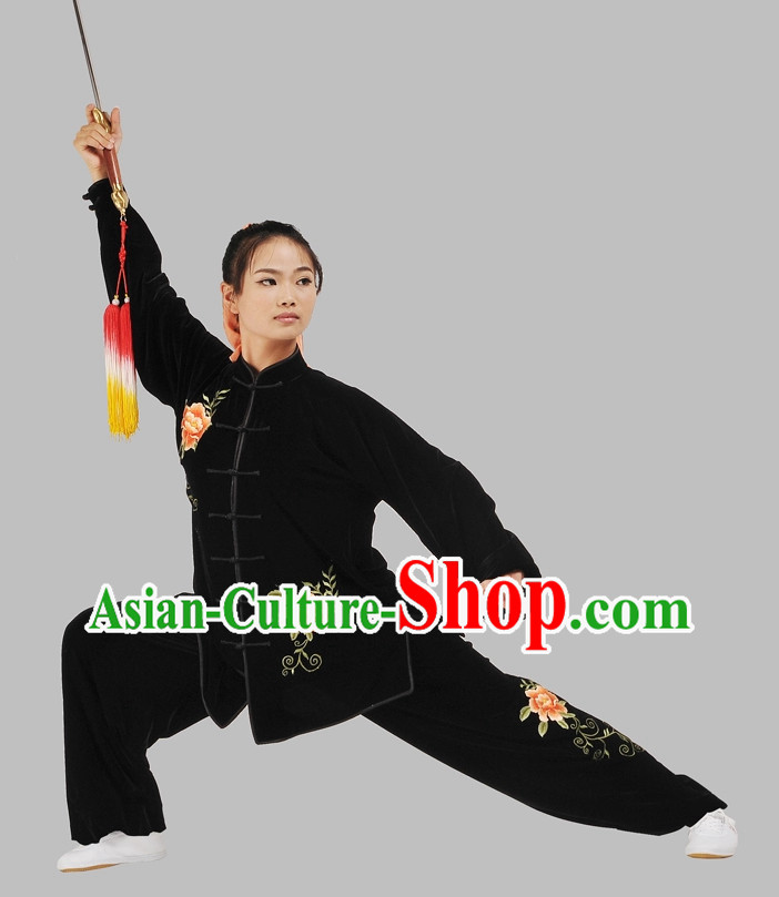 Black Velvet Embroidered Flower Kung Fu Pants and Blouse Complete Set for Women