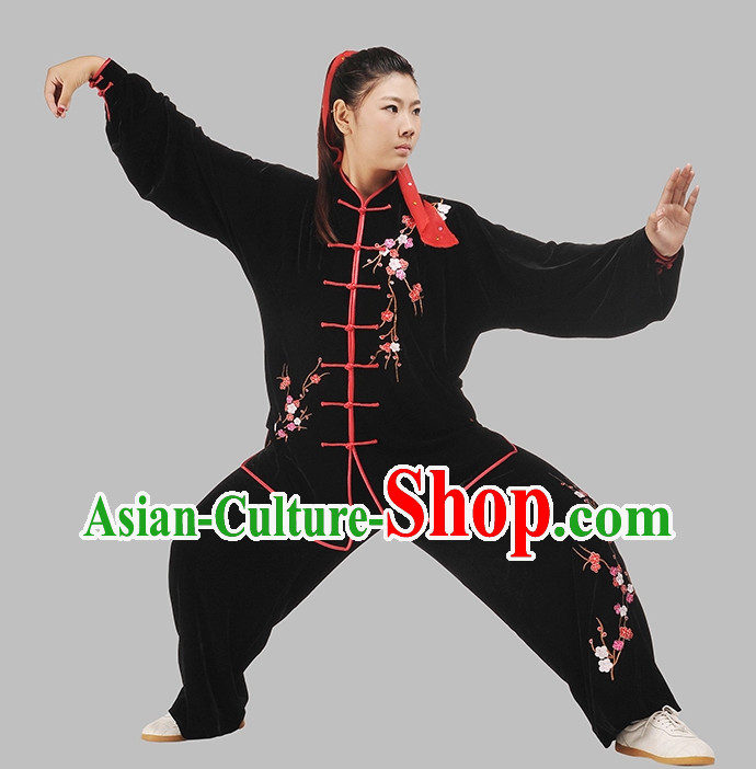 Black Top Velvet Embroidery Kung Fu Pants and Blouse Complete Set for Women