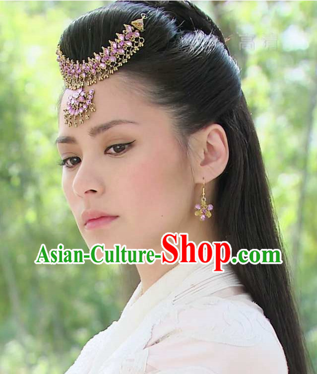 Top Chinese Fairy Hair Accessories Headpieces Hair Combs Jewellery and Earrings Complete Set