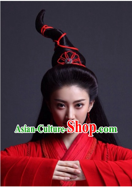 Supreme Chinese Princess Long Black Wig and Jewellery Accessories Wedding Headpieces
