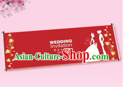 2 Meters Long Romantic Wedding Guest Signatures Cloth Scroll