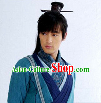 Long Black Chinese Swordsmen Wig