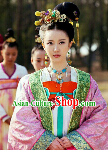 Chinese Traditional Style Princess Black Wig and Hair Jewelry