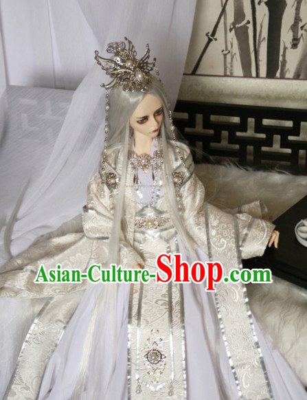 Chinese White Empress Costumes and Hair Jewelry Complete Set for Women