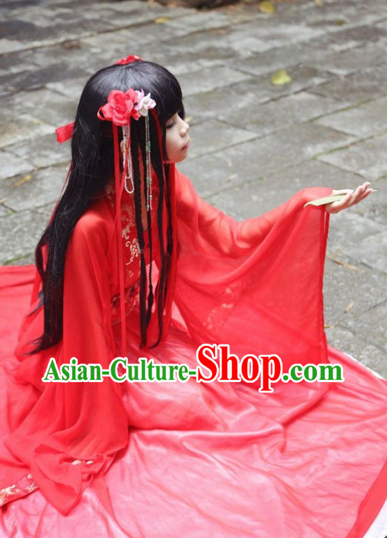 Chinese Costumes Asian Fashion Bridal Red Costumes and Hair Jewelry Complete Set for Women