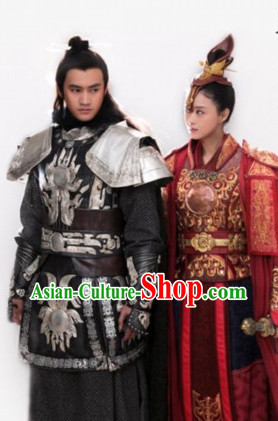 Asian Fashion Chinese Princess Halloween Costumes and Hair Jewelry Complete Set for Women