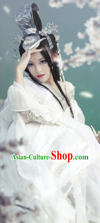 Asian Fashion Chinese Princess Cosplay Halloween Costumes and Hair Jewelry Complete Set for Women
