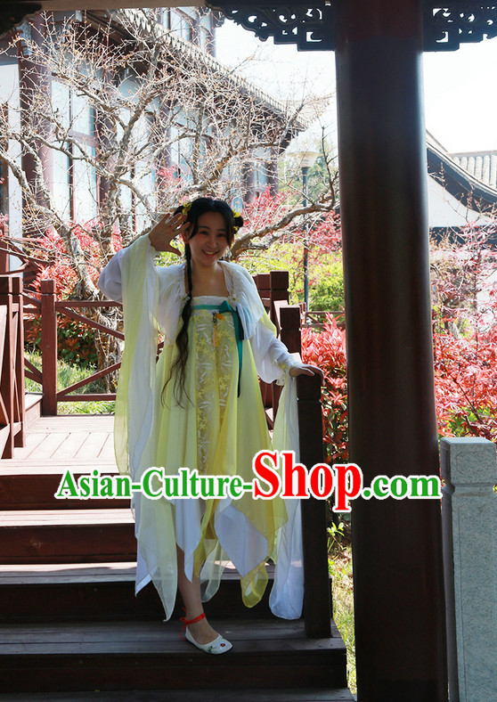 Asian Fashion Chinese Female Fairy Hanfu Clothing and Hair Jewelry Complete Set for Women