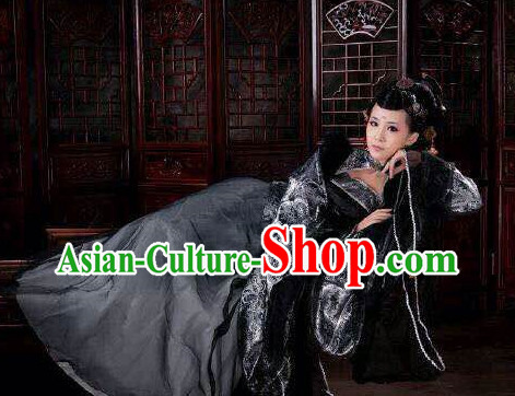 Asian Fashion Chinese Black Empress Sexy Halloween Costumes Complete Set for Women