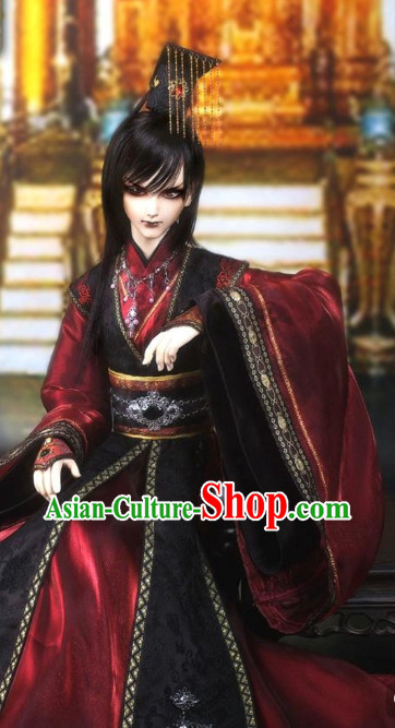 Asian Fashion Chinese Emperor Costumes Hanfu and Crown Complete Set for Men