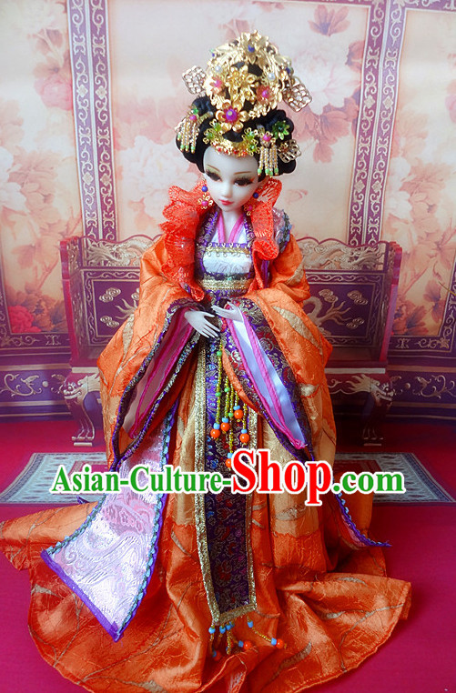 Asia Fashion China Civilization Chinese Empress Costume and Hair Accessories Complete Set