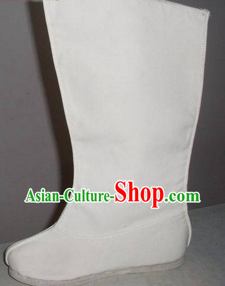 Handmade Chinese Traditional White Hanfu Fabric Boots Footwear