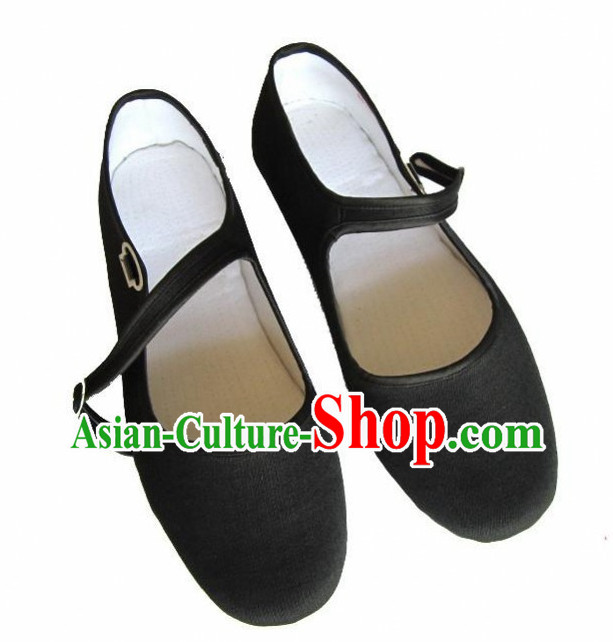 Black Handmade Chinese Traditional  Fabric Shoes Footwear