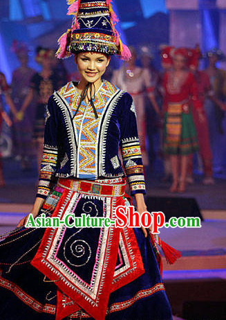 Oriental Chinese Traditional Dress Ethnic Clothing and Hat Complete Set