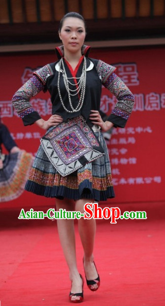 Chinese Traditional Miao Ethnic Clothing Complete Set