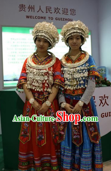 Oriental Clothing Chinese Miao Costumes and Silver Hat Complete Set