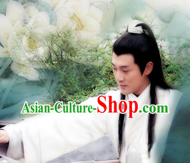 Chinese Ancient Style Male Black Long Wig