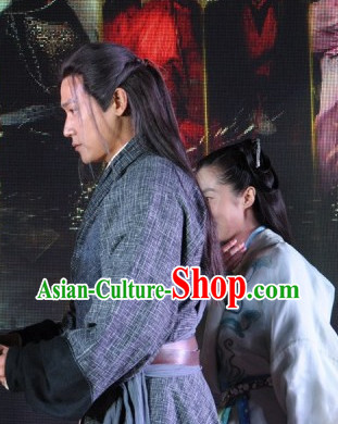 Chinese Ancient Style Guzhuang Black Long Wig Hair Extention for Men