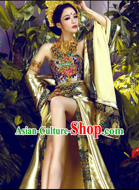 Asian Fashion Chinese Sexy Women's Halloween Costumes and Hair Accessories Complete Set