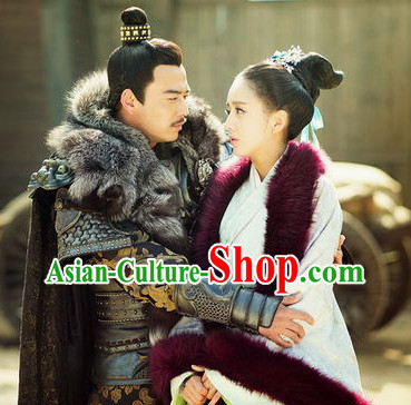 Chinese Ancient General Armor Suit and Wife Complete Set