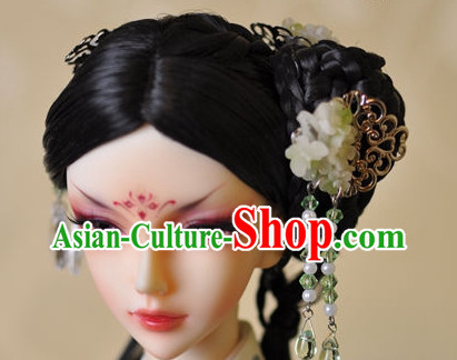 Traditional Chinese Women's Black Wig and Hair Jewelry