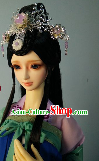 Traditional Chinese Princess Handmade Long Wig and Hair Jewelry for Women