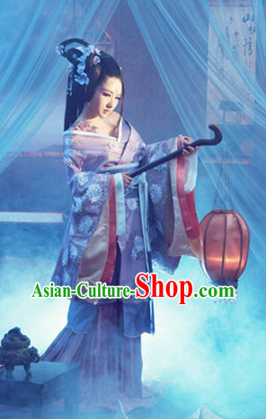 Chinese Traditional Palace Lady Clothes and Hair Jewelry Complete Set