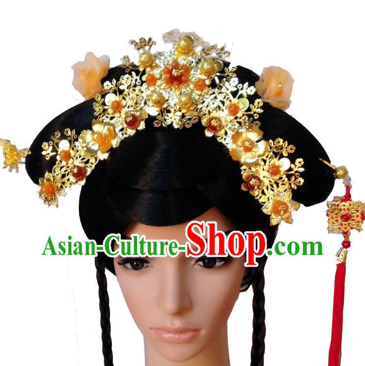 Handmade Chinese Empress Long Black Wig and Hair Jewelry