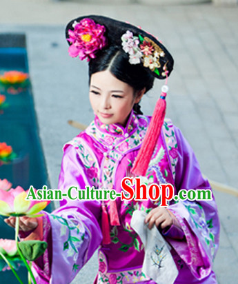 China Fashion Chinese Ancient Costume Qing Dynasty Cheongsam and Hair Accessories Complete Set