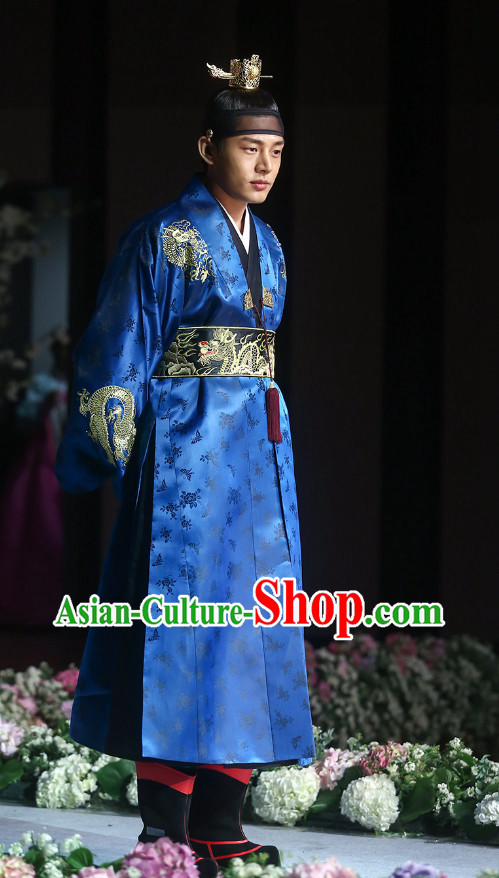 Ancient Korean Emperor Costumes Complete Set and Crown for Men