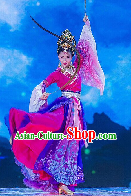 Chinese Ancient Beauty Diao Chan Stage Performance Dance Costumes and Headwear Complete Set