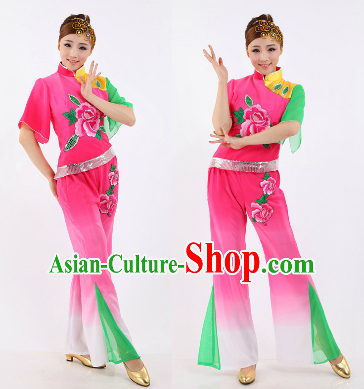 Chinese Traditional Classical Peony Dancing Apparel Dance Attire and Headpiece Complete Set for Women